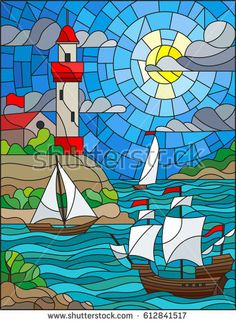 Illustration in stained glass style with sea view, three ships. – Millions of Creative Stock Photos, Vectors, Videos and Music Files For Your Inspiration and Projects. Stained Glass Designs, Stained Glass Patterns, Stained Glass Art, Arte Hippy, Glass Art Pictures, Glass Wall Art, Art And Illustration, Mosaic Art, Mosaic Glass