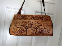 Vintage Large Hand Tooled Rose Leather Purse- Made in Mexico