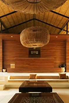 The minimalist lobby features warm, natural materials such as rattan and handwoven linen to create a warm and inviting space. #Indistay   Kasara Resort, Nepal
