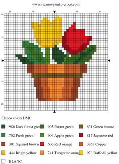 Pot of tulips Mini Cross Stitch, Cross Stitch Cards, Simple Cross Stitch, Cross Stitch Rose, Cross Stitch Flowers, Cross Stitching, Cross Stitch Embroidery, Cross Stitch Designs, Cross Stitch Patterns
