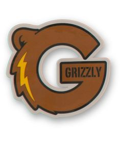 Easily add style to any smooth surface with a brown bear G logo with Grizzly text and yellow bolt graphic with an easy peel and stick adhesive backing.