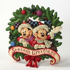 """Mickey & Minnie want to be the first to wish you: """"SEASON'S GREETINGS"""" - Mickey & Minnie Mouse wreath (Jim Shore Disney Traditions)"""