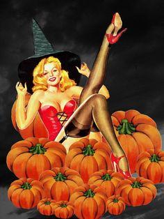 Vintage Halloween Pin Up Girl Halloween Pin Up, Halloween Vintage, Theme Halloween, Vintage Witch, Halloween Images, Holidays Halloween, Happy Halloween, Halloween Costumes, Creepy Vintage