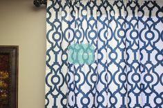 PAIR of Curtain Drape Panels - 2 PC - Premier Print - LYON - Premier Navy Blue  White - Home Decor Window Treatment Kitchen Valance Drapery by LinenVision on Etsy https://www.etsy.com/listing/208855288/pair-of-curtain-drape-panels-2-pc