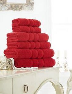 Zero Twist Red Hand Towel Bath Towel &Bath Sheets – Linen and Bedding