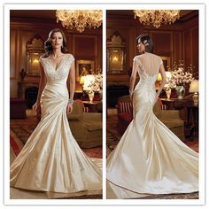 The rouching on this is gorgeous  Wd-2374 Sexy Sheer Back And Cap Sleeve Pattern Wedding Dress With Satin Pleated Skirts Photo, Detailed about Wd-2374 Sexy Sheer Back And Cap...