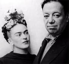 "Frida Kahlo & Diego Rivera Above: Frida Kahlo & Diego Rivera. Painted after her first divorce from Diego Rivera, ""self-portrait with thorn necklace and hummingbird"" is a collage of symbols and. Famous Artists, Great Artists, Diego Ribera, Frida E Diego, Mexican Artists, Famous Couples, Happy Couples, Portraits, Art History"