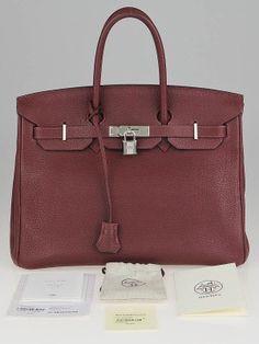 167c2a9e9 Authentic Hermes Rouge H Vache Fjord Palladium Plated Birkin Bag at Yoogi's  Closet.