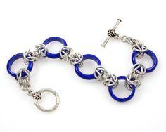 Cobalt Blue Glass Ring Bracelet by Jelene Britten Designs on Etsy