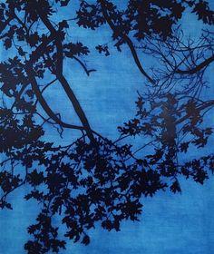 Isabel Bigelow, blue leaves 2015, oil on panel