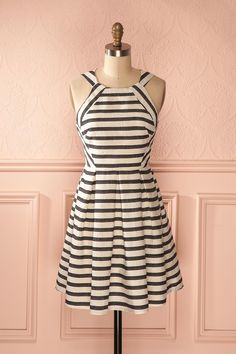 Lynelle Snow - White striped box pleats dress