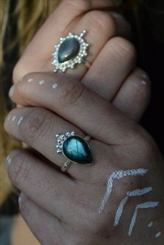 Labradorite Rings designed by Noomaad Labradorite Ring, Minimalist Jewelry, Ring Designs, Silver Rings, Feminine, Bohemian, Turquoise, Crystals, Stone