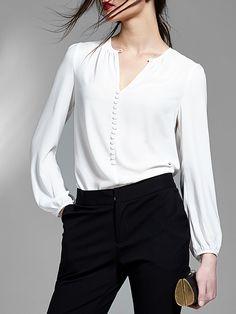 Buttoned Work Long Sleeve Plain V Neck Blouse
