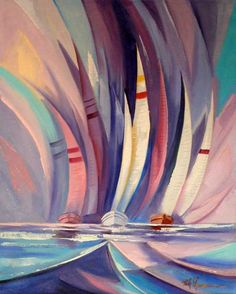 Maui artist Rick Lawrence is famous for his popular painting - Sailing II - which captures the essence of the freedom felt in skimming over the water at the mercy of the wind. Available at Sargent's Fine Art in Lahaina, Maui. Abstract Nature, Abstract Watercolor, Abstract Art, Sailboat Art, Sailboat Painting, Cubism Art, Art For Art Sake, Ship Art, Acrylic Art