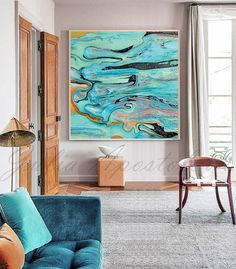 Tropical Print Abstract Art Canvas Turquoise Polynesian