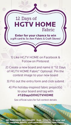 I'm creating an inspiration board for the 12 Days of HGTV HOME Fabric! #HGTVHOME #12DaysofHGTVHOME