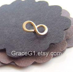 Gold Infinity cartilage earrings stud cartilage earrings, Infinity tragus earrings, ONE Gold filled Infinity stud. $24.99, via Etsy.