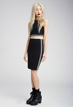 Athletic-Striped Pencil Skirt with Athletic-Striped Razerback Crop Top | FOREVER21