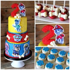 Paw Patrol Cake with Chase, Marshall, Rocky, Zuma, and Rubble. Cake Pops with Bones & Paw Print Chocolate Covered Oreo Cookies (birthday food ideas paw patrol) Torta Paw Patrol, Paw Patrol Cake Toppers, Prince Birthday Party, 5th Birthday Party Ideas, 2nd Birthday, Thomas Birthday, Birthday Cakes, Paw Patrol Birthday Cake, Paw Patrol Party