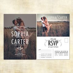 Photo Wedding Invitation and RSVP Postcard by JennyLynnCreative, $24.00