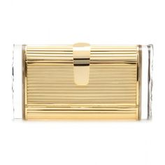 Edie Parker Lara Metal Box Clutch (29,175 MXN) ❤ liked on Polyvore featuring bags, handbags, clutches, purses, gold, hard clutch, box clutch, edie parker handbags, beige handbags and metal purse