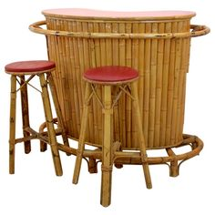 For Sale on - A stunning Mid-Century Modern bamboo and rattan 'Kidney' shaped Tiki Bar complete with two Stools from the French Riviera. Very nice quality and craftsmanship, Car Part Furniture, Room Furniture Design, Automotive Furniture, Automotive Decor, Modern Furniture, Furniture Storage, Tiki Bar Stools, Tiki Bar Decor, Décor Tiki