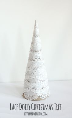 Make your own Lace Doily Christmas Tree, they're delicate, snowy and so pretty! And even better, super easy to make! Cone Christmas Trees, Noel Christmas, Rustic Christmas, White Christmas, Christmas Decorations, Christmas Ornaments, Primitive Christmas, Holiday Tree, Homemade Christmas