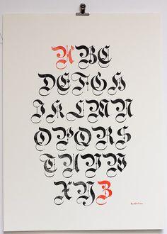 Плакат типографической старопечатных gothiques пар ampersandenpress #blackletter #capitals #flourish: