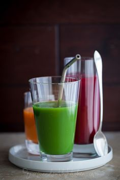 Spinach and Pea Shoot Green Juice Recipe. These three colorful vegetable juices are an easy way to make juicing a habit this year.