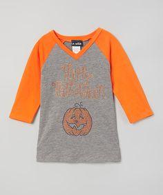 Orange & Gray 'Halloween' Raglan Tee - Infant Toddler & Girls
