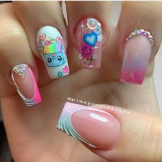 Manicure, Cute Acrylic Nails, Pink Nails, Pretty Nails, Nail Designs, Nail Art, Beauty, Elegant Nails, Work Nails