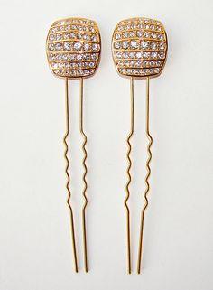 Gold Head Piece Wedding Headpiece Rhinestone Hair Comb by OhFaro, $39.00