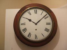 Ansonia Clock Co American Circular Mahogany Case Timepiece Wall Clock c1900 16 D