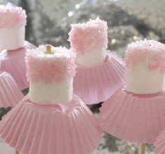 Ballerina Marshmallows. Could  do white tutues for weddings and christening after party snack.