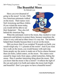 The Beautiful Moon Reading Comprehension Worksheet