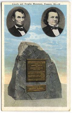 Lincoln and Douglas Monument. Postcard.