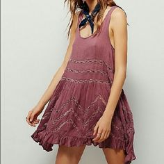 $1.99 SHIPPING Free People Trapeze slip dress NWT NWT SZ M, fawn color (dusty purple with darker, plum dots...lace is the same dusty purple color). Also currently selling a S in the same color. Adorable styled over skinnies or layered as a dress. I'd say my photo shows the actual color best... Free People Dresses