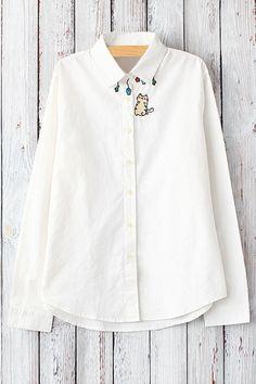 Cat Embroidery Shirt Neck Long Sleeve Shirt