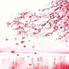 Sticker arbre cerisier japonais - nippon - tronc • PIXERS.fr