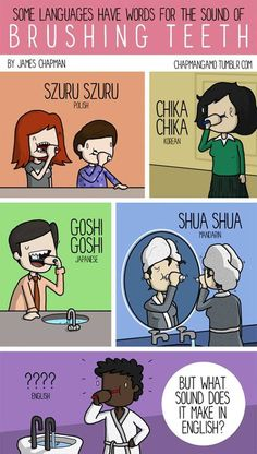 Brushing teeth in different languages by James Chapman European Day Of Languages, World Languages, James Chapman, Words In Different Languages, Intercultural Communication, Global Awareness, Figure Of Speech, Visual Learning, Interesting Topics