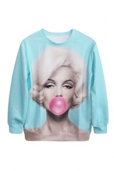 Blue Womens Sexy Pullover Marilyn Monroe Balloon Printed Sweatshirt