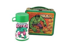 The Incredible Hulk Metal Lunchbox and Plastic Thermos, Vintage 1970s Marvel Comics Metal Lunch Box