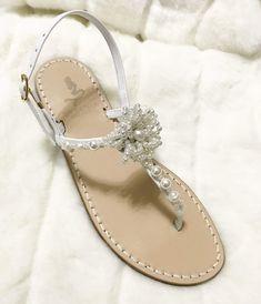 cb6fba759442 Sandali da Sposa con Perle  fiori  style  hana ✨Wedding LEATHER SANDALS WITH