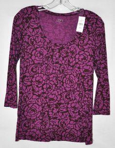 Ann Taylor Loft Purple Floral Knit Blouse 3/4 Sleeve Pleating Detail Sz XS NWT