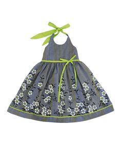 Gray & Lime Floral Sakura Halter Dress