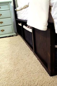 DIY Storage king sized bed! Mike and I need to make this, to get the mattress off of the floor and get rid of those nastayyy box springs!