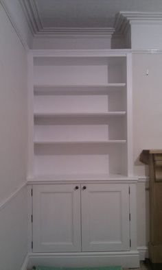 Front room inspiration - Victorian alcove unit could work. Alcove Shelving, Alcove Cupboards, Built In Cupboards, Cupboard Shelves, Room Shelves, Built In Shelves, Office Cupboards, Cupboard Ideas, Cupboard Doors