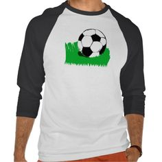 Soccer Ball in Grass Men's Raglan T-Shirt; Abigail Davidson Art; ArtisanAbigail at Zazzle