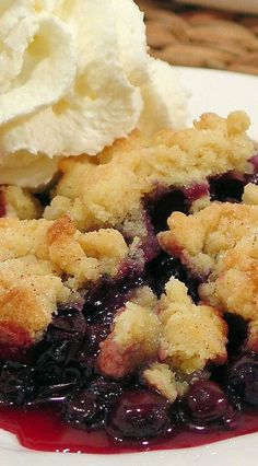 Best Ever Blueberry Cobbler ~ The secret is in the buttery biscuit crumble topping that tastes like a cross between a buttery biscuit, pie pastry and a sugar cookie! | easy summer berry dessert recipe