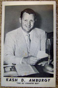 "KASH AMBURGY WPFB radio card ""The Old country Preacher from South Lebanon Ohio"" | by CINCINNATI TV & RADIO HISTORY"